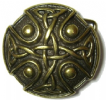 Knotwork 'Old Brass' Belt Buckle + display stand. Code XP6